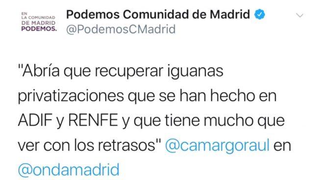 El responsable de redes de Podemos debe volver a la escuela: escribe 'abría que' y 'conserjerías'