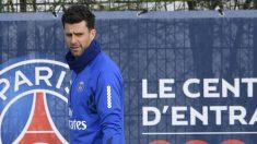 Thiago Motta, durante un entrenamiento con el PSG. (AFP)