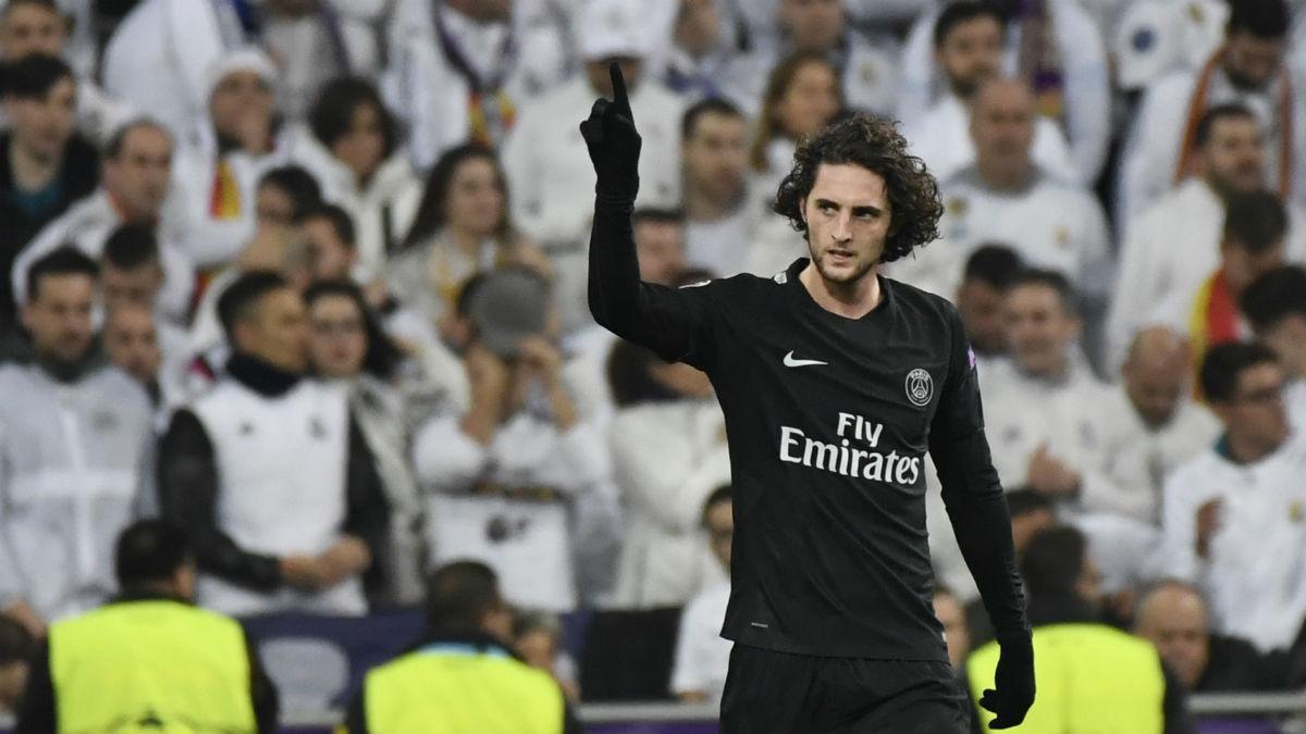 Rabiot celebra su gol en el Bernabéu. (AFP)