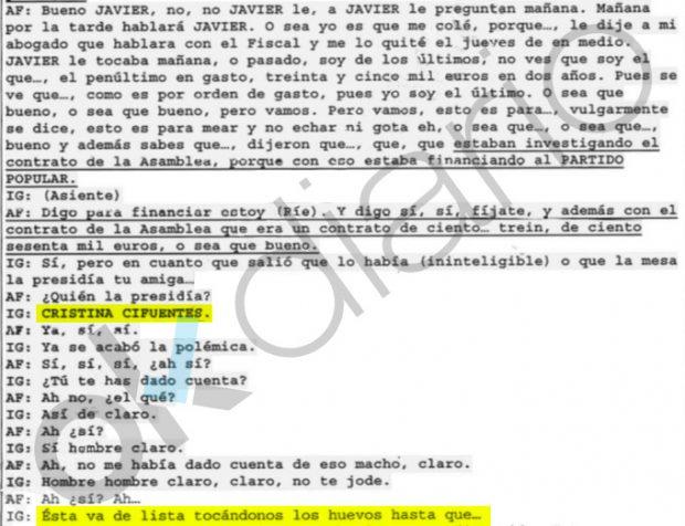 Llamada intervenida por la UCO entre Ignacio González y Arturo Fernández en el caso Lezo.