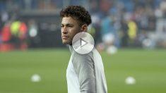 Neymar se ejercita en el Santiago Bernabéu. (AFP)
