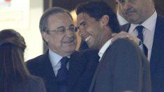 Rafa Nadal, junto a Florentino Pérez en el palco del Santiago Bernabéu.