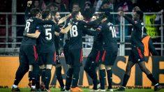 El Athletic celebra uno de sus goles en Moscú. (AFP)