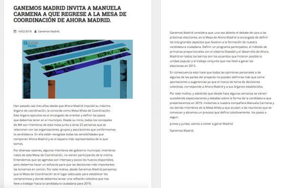Carmena rechaza la petición del sector crítico de volver a someterse al dictado de Ahora Madrid