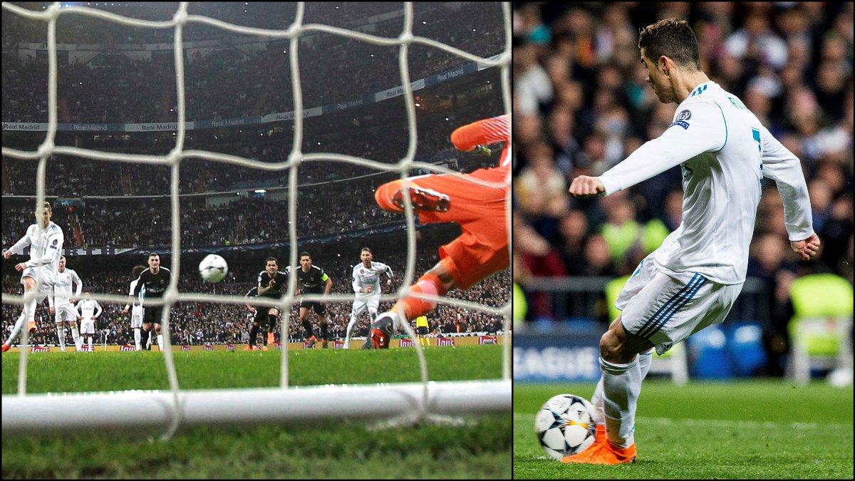 Cristiano lanza el penalti ante el PSG. (EFE)