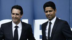Unai Emery y Nasser Al Khelaifi, durante la presentación del técnico con el PSG. (AFP)