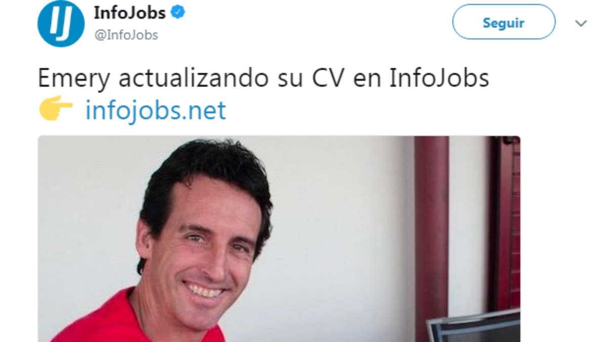 El 'tweet' sobre Emery de Infojobs. (Twitter)