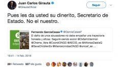 Tuit de Juan Carlos Girauta (C's) en respuesta al secretario de Estado de Cooperación por el caso Oxfam.