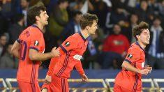 Odriozola celebra el gol del empate. (AFP)