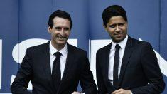 Emery y Al-Khelaifi durante la presentación del primero. (AFP)