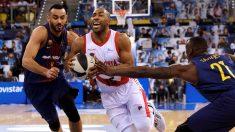 Jayson Grange intenta una penetración durante el Barcelona – Baskonia de la Copa del Rey de Baloncesto. (EFE)