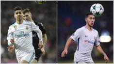 Asensio y Hazard durante dos partidos de Champions. (Fotos: AFP)