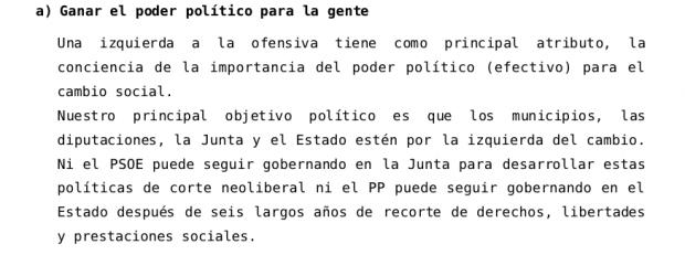 Declaración política de Iniciativa Andalucista que habla del agotamiento del PSOE