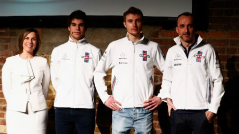 Claire Williams, junto a Stroll, Sirotkin y Kubica. (Getty)
