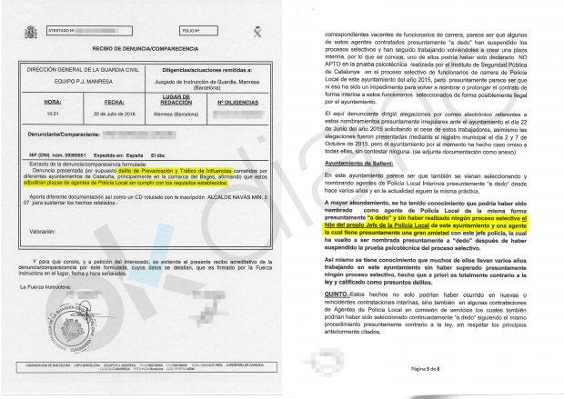 Denuncia contra el Jefe de Policía Local de Sallent