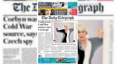Portada del 'Daily Telegraph' que acusa a Jeremy Corbyn de ser informante del bloque del Este durante la Guerra Fría.