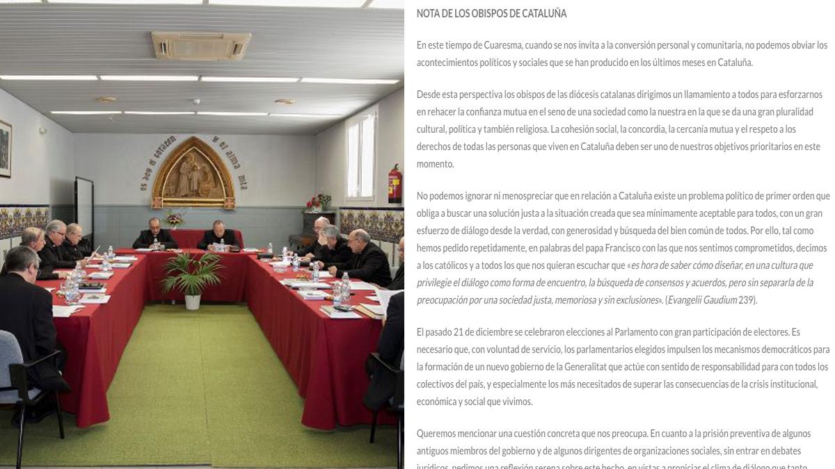 Obispos catalanes y la nota emitida de apoyo a los golpistas presos.