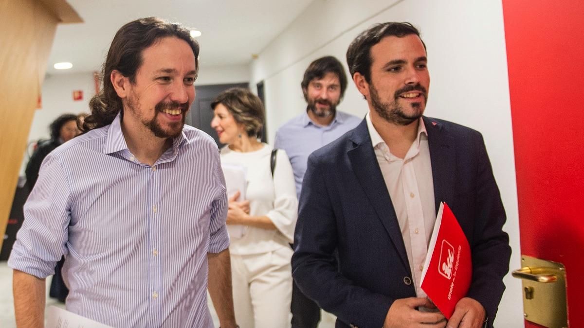 Alberto Garzón (d) y Pablo Iglesias. (Foto: Flickr)