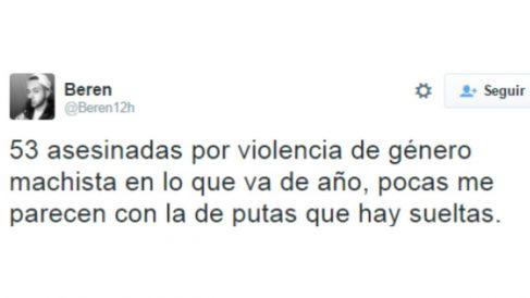 Uno de los tuits a favor de la violencia machista por los que ha sido condenado el acusado.