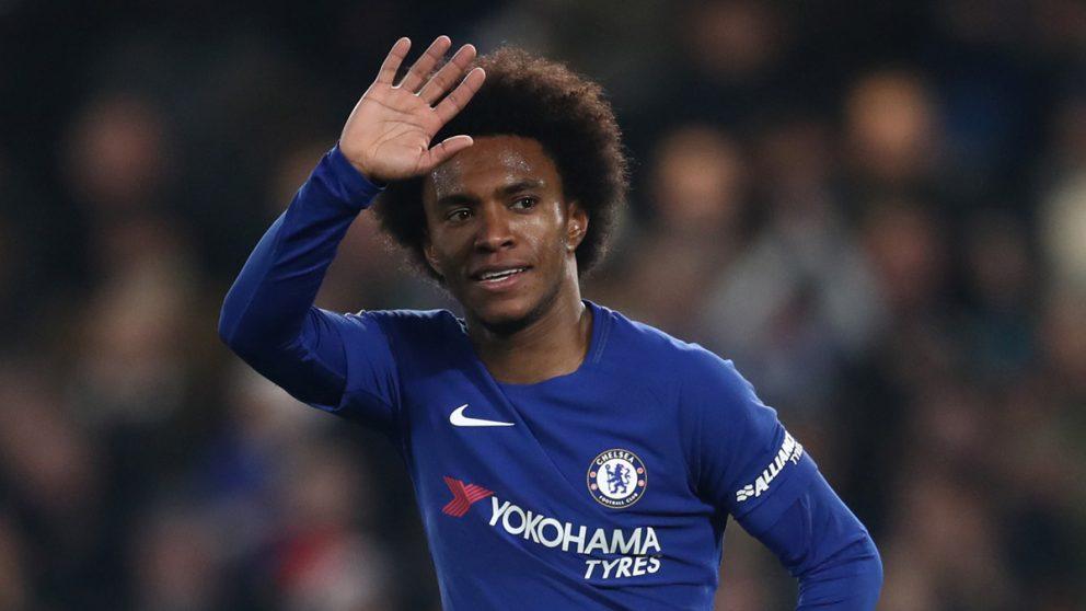 Willian celebra un gol con el Chelsea.