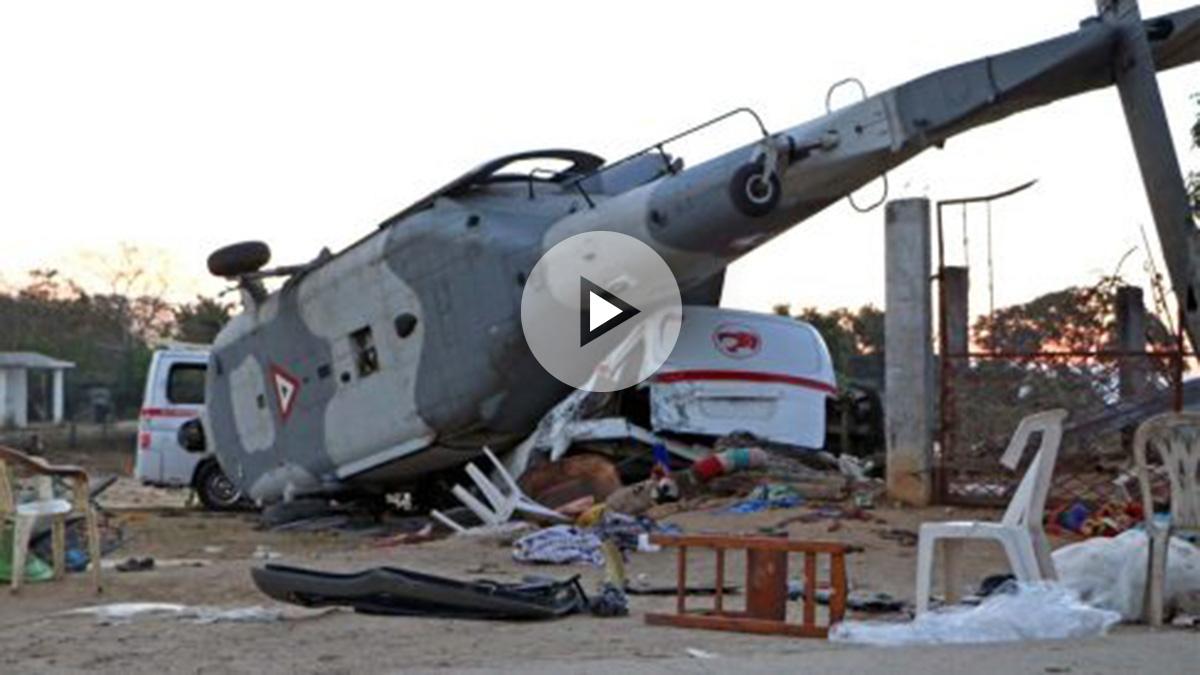Accidente de un helicóptero militar en Oaxaca. Foto: AFP