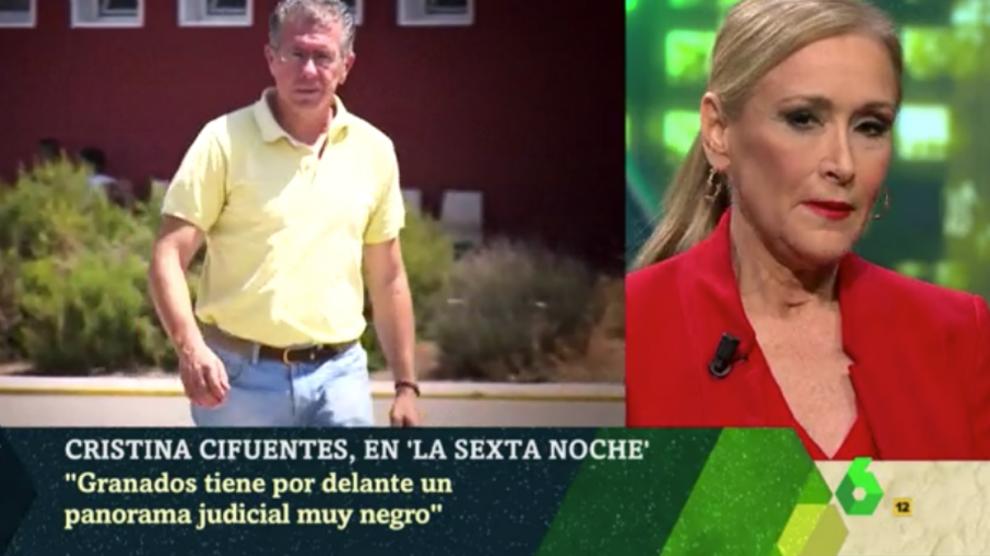 La presidenta de la Comunidad de Madrid, Cristina Cifuentes, en La Sexta Noche.