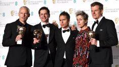 Director, productor y actores principales de 'Tres anuncios en las afueras' (Foto: AFP).