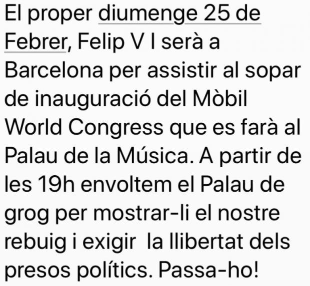 Los independentistas organizan una encerrona a Felipe VI en su visita al Mobile World Congress