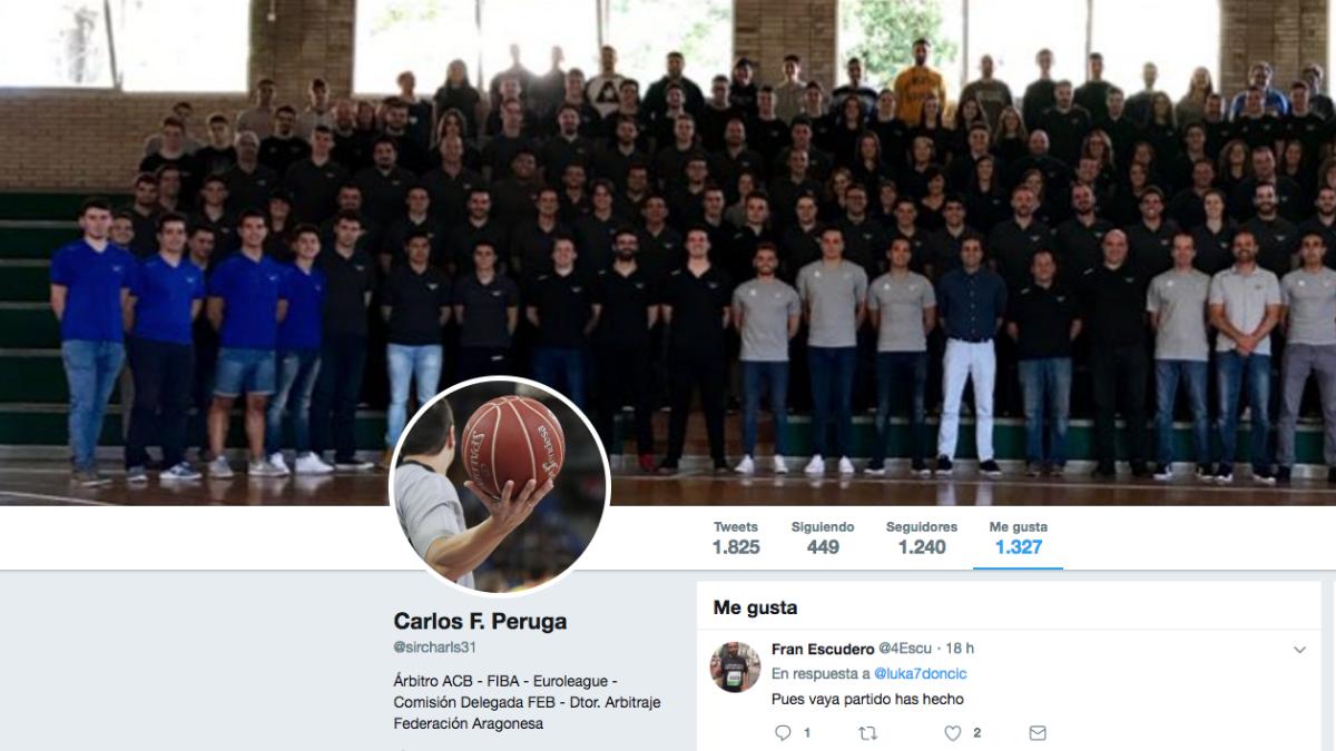 Carlos Peruga da 'me gusta' a un tuit en el que se critica a Doncic.