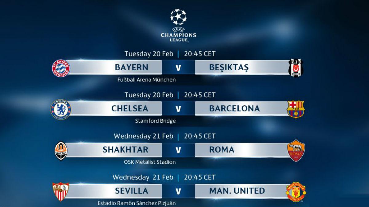 Partidos de octavos de la Champions League.