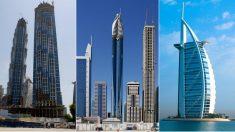 De izquierda a derecha los hoteles, JW Marriott Marquis Dubai, la Rose Tower y el Burj Al Arab en Dubái.