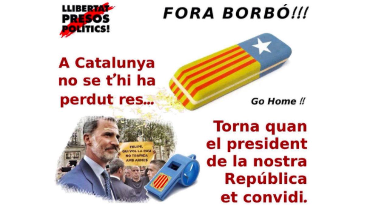 Una de las convocatorias contra la presencia del Rey en Barcelona.