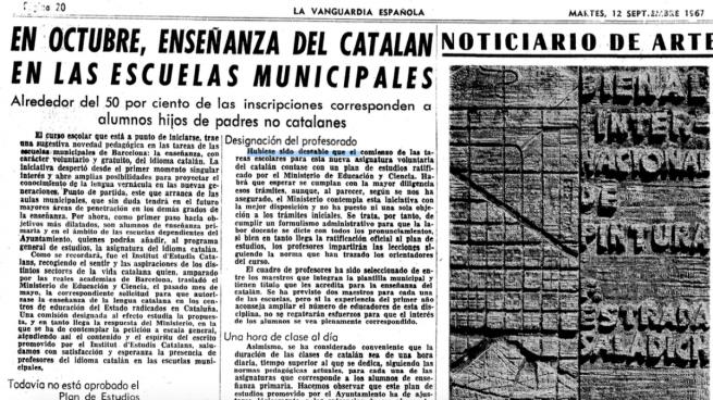 Cinco horas de catalán en los colegios con Franco y solo dos de español con la Generalitat