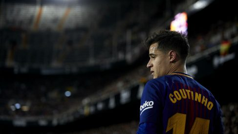 Philippe Coutinho, durante el encuentre del Barcelona frente al Valencia en Mestalla. (Getty)