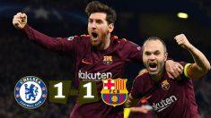 Messi e Iniesta celebran el gol del Barça. (AFP)