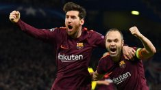 Messi e Iniesta celebran un  gol del Barça. (AFP)
