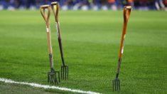 Cuidados en el césped del Stamford Bridge, donde se disputará el Chlesea – Barcelona. (Getty)