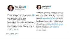 'Tuits' de Ada Colau, alcaldesa de Barcelona.