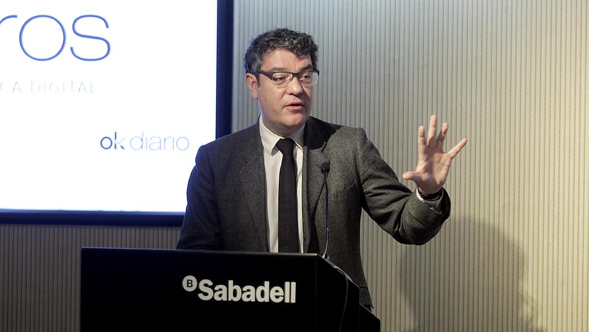 El ministro de Energía, Turismo y Agenda Digital, Álvaro Nadal, durante su intervención en el OKFORO sobre Innovación y Banca celebrado en el Auditorio de Banco Sabadell en Madrid.