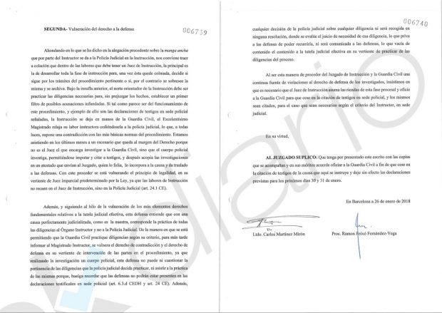 Pánico en los golpistas: acusan a la Guardia Civil ante el juez de violar sus derechos fundamentales