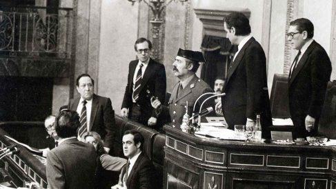 Antonio Tejero en el intento de Golpe de Estado.