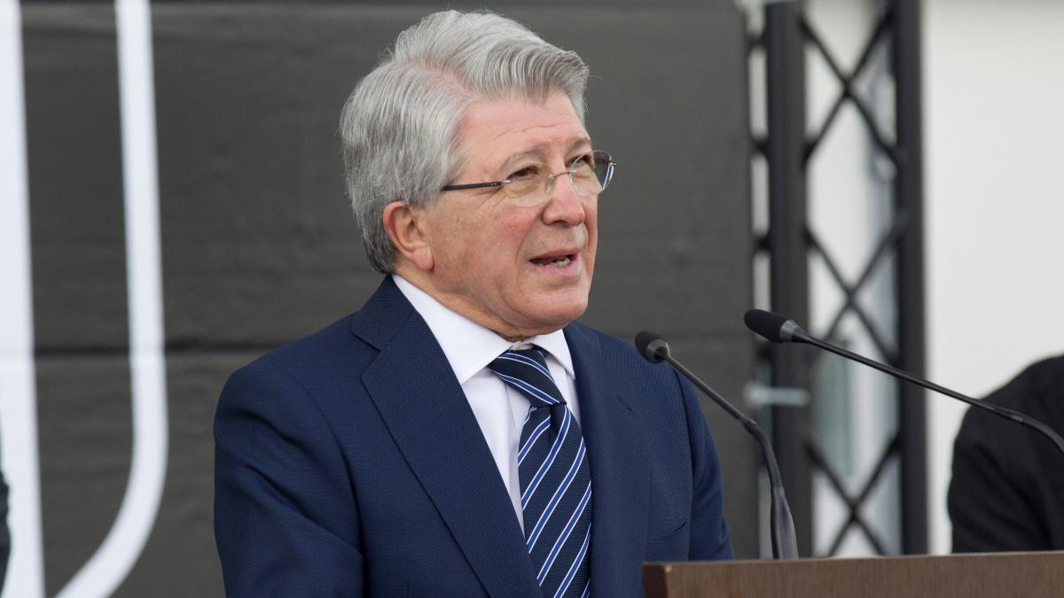 Enrique Cerezo, presidente del Atlético de Madrid, durante un acto del club. (EFE)