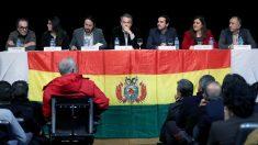 José Luis Rodríguez Zapatero, Pablo Iglesias y Alberto Garzón en el acto 'Por Bolivia, con Evo'. (Foto: EFE)