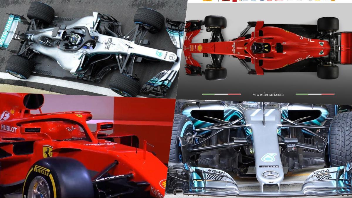 Comparación del Mercedes W09 y del Ferrari SF71H para el Mundial de Fórmula 1.