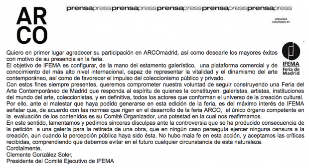 "El presidente de Ifema se disculpa por retirar la obra 'Presos Políticos': ""No hubo mala fe ni censura"""