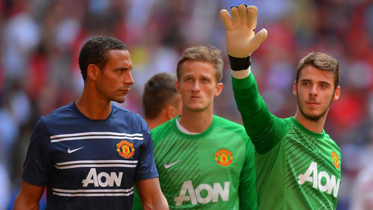 David de Gea y Rio Ferdinand tras un partido con el United. (Getty)