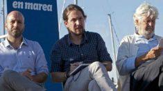 Pablo Iglesias con Xosé Manuel Beiras (fundador de Anova) y Luis Villares (portavoz)