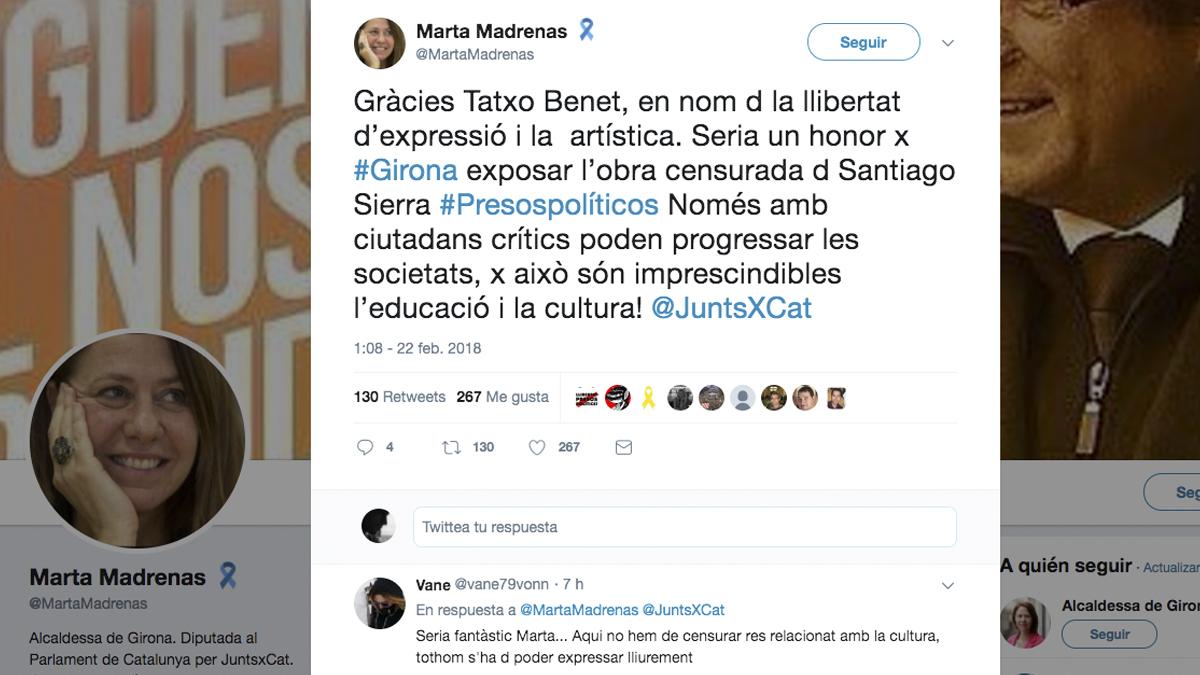 Tuit de Marta Madrenas, alcaldesa de Gerona.