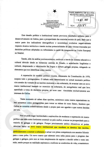 Propuesta por el derecho a decidir de Galicia apoyada por Podemos