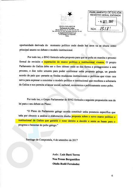 La PNL por el derecho a decidir y a la soberanía de la nación de Galicia apoyada por Podemos